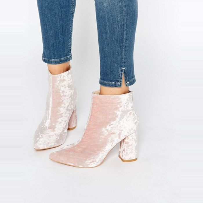 Daisy Street Pink Crushed Velvet Point Heeled Ankle Boots ... ca498b316f19