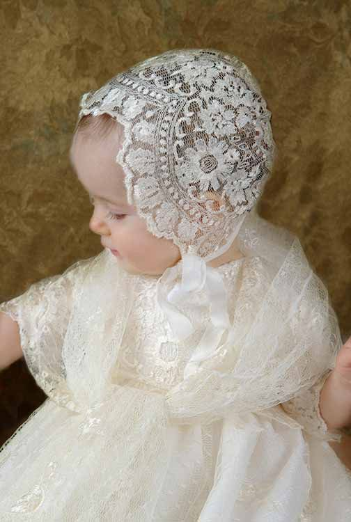 ivory embroidered lace bonnet  christening gowns baby