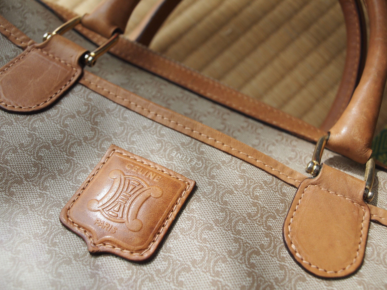 Celine Beige Macadam Boston Bag Classic Purse Vintage Bag Gift For Her M95 Classic Purse Boston Bag Boston Handbag