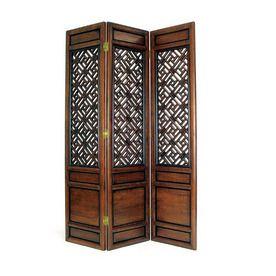 Oriental Furniture 3 Panel Dark Wood