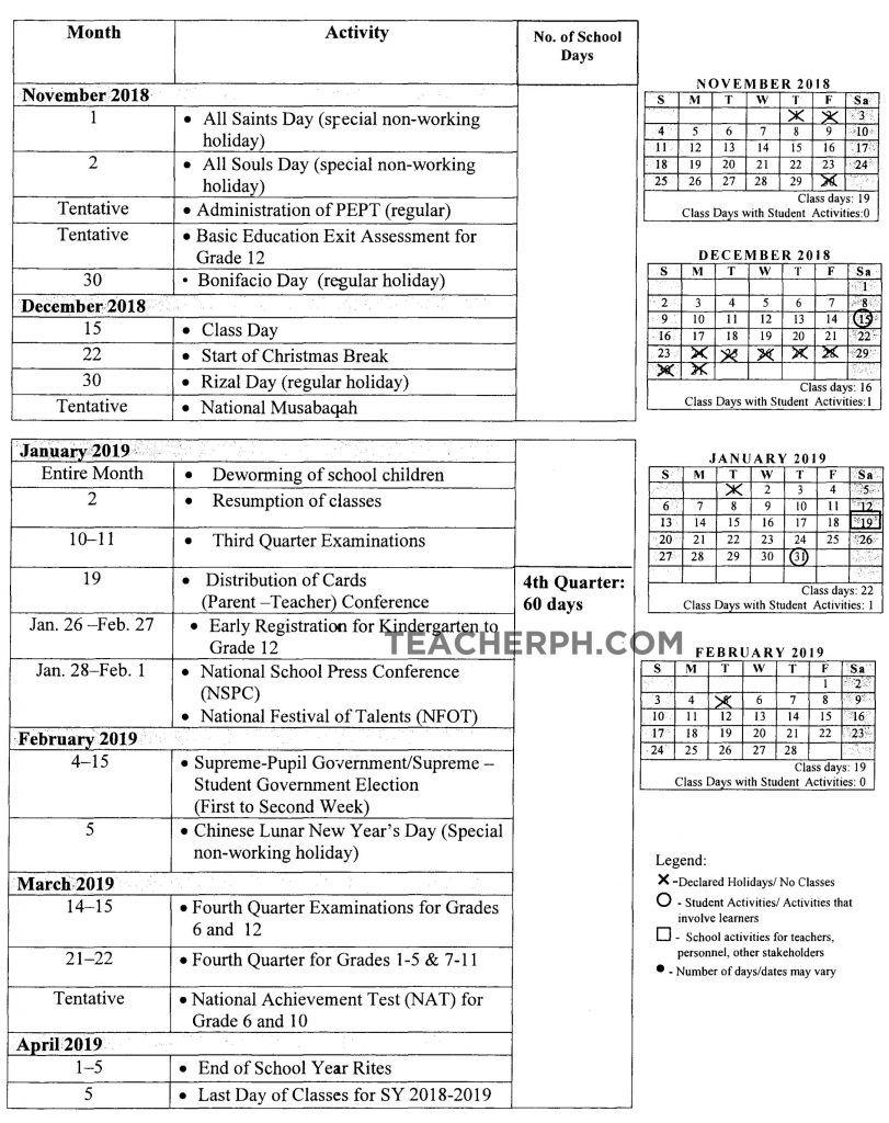 DepEd School Calendar for School Year 2018-2019 - TeacherPH | pix