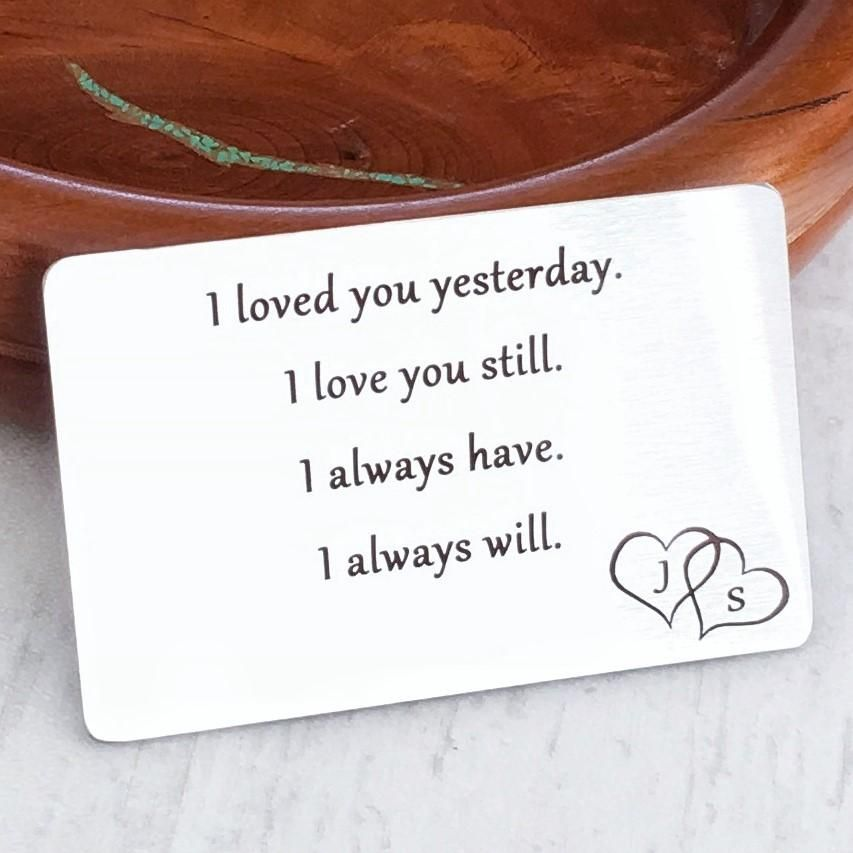 I LOVE YOU WALLET CARD WITH DOUBLE HEART INITIALS #gifts #husband # personalized  sc 1 st  Pinterest & I LOVE YOU WALLET CARD WITH DOUBLE HEART INITIALS   Gifts for Him ...