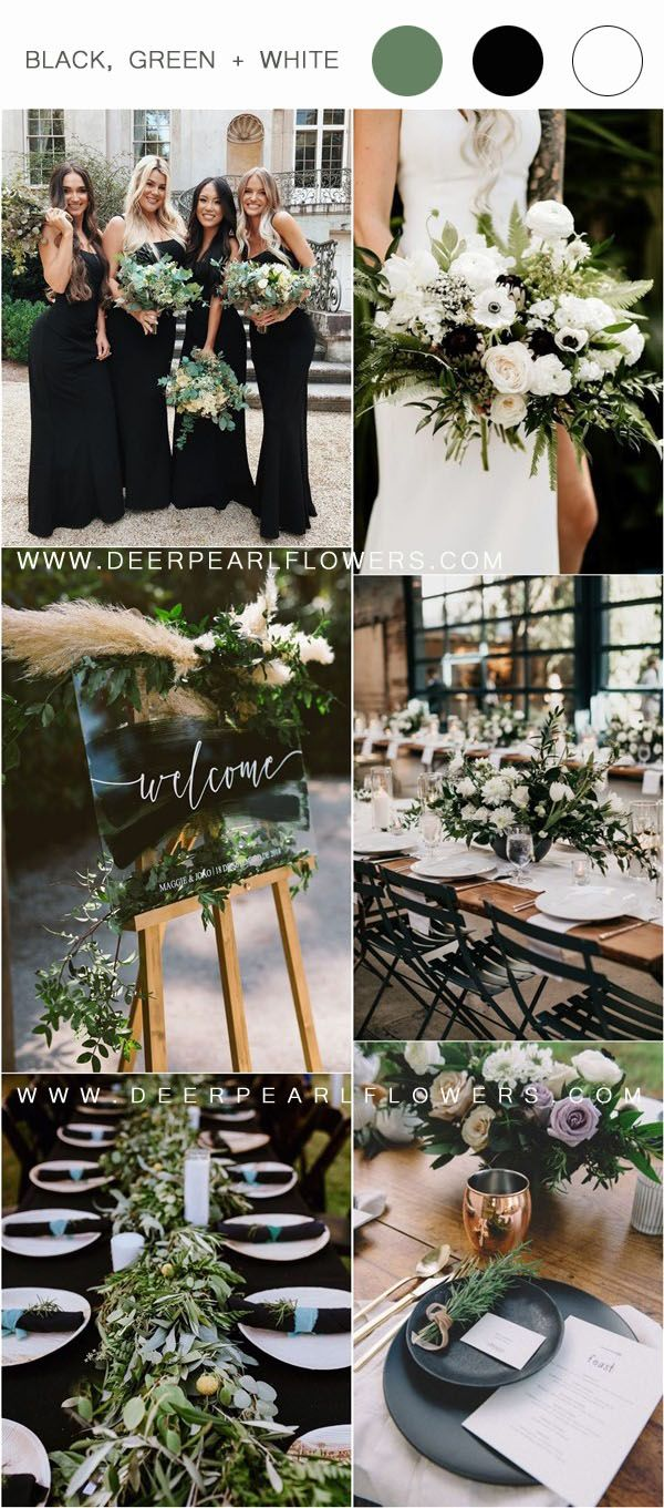 36 Black, Green and White Wedding Color Ideas for Spring