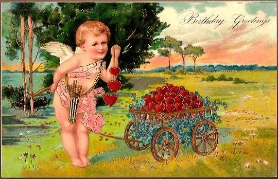 Vintage Post Card Birthday Greetings Cupid and Hearts from dsmomentsintime on Ruby Lane