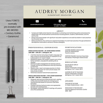TEACHER RESUME Template For MS Word and Pages + Educator Resume - great looking resume templates