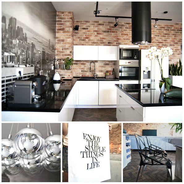 Kuchnia Biało Czarna Cegła Domy I Wnętrza In 2019 Home