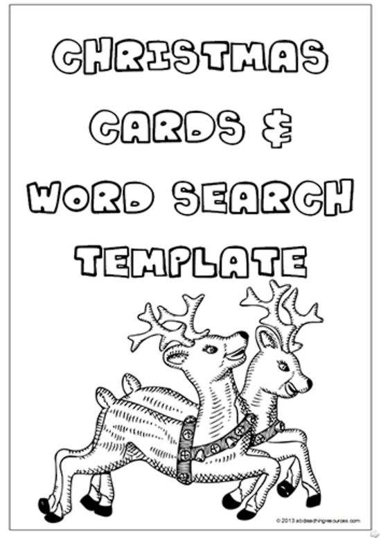 Christmas Card And Word Search Templates Christmas Word Search Creative Thinking Activities Christmas Words
