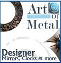 Unique Contemporary Designer Metal Art, Handmade in the U.K. Exclusive creations include Metal Wall Art, Mirrors, Clocks, Candlesticks and Home Accents.