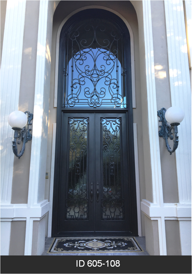 Id 605 108 Double Iron Door With Transom Iron Doors Wrought Iron Doors Iron Furniture