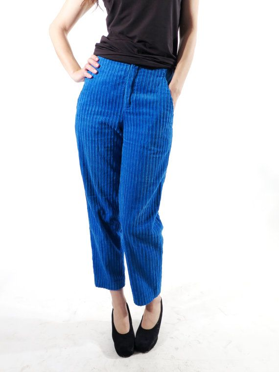Ruby Red High Waist Tapered Leg Corduroy Pants, 80s Vintage Corduroy Trousers, Autumn Trousers in bold red , Size S