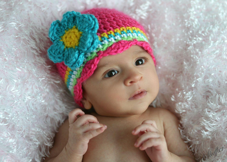 Crochet Baby Hat, Newborn, Hot Pink, Turquoise, Yellow, Children ...