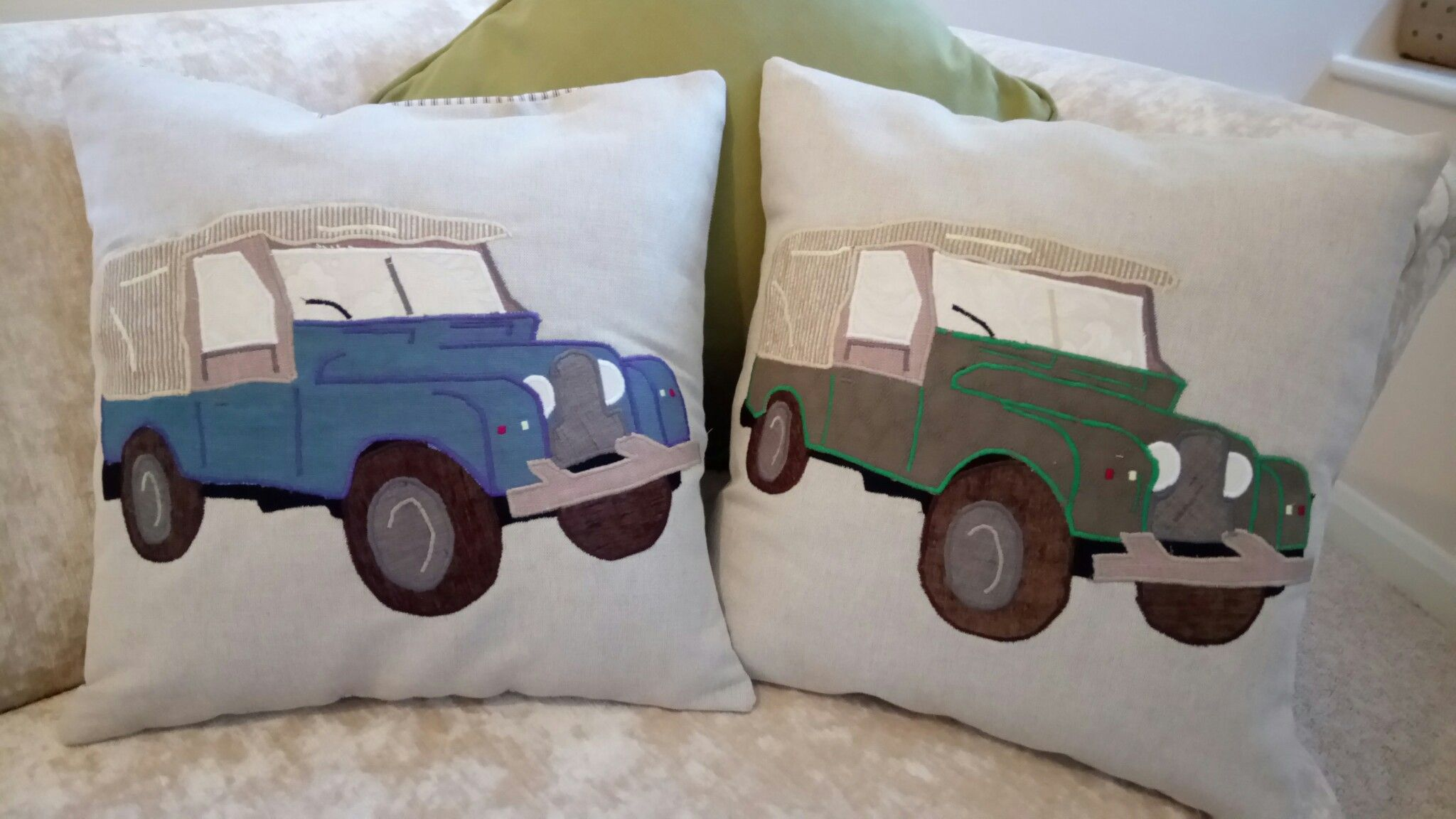 Series 1 Landrover cushion - 45x45cm - hollow fiber filling, cotton ticking reverse - www.ByeBrytshi.com