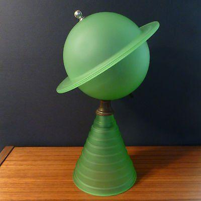 Used Vintage Art Deco 1939 New York World S Fair Saturn Lamp Green Satin Glass Ubb Threads Vintage Art Deco Vintage Art Art Deco