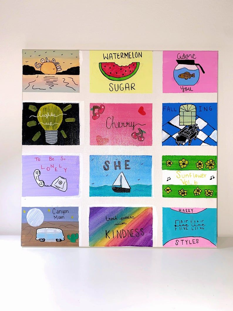 Fine Line Album Art Etsy In 2020 Harry Styles Drawing Simple Canvas Paintings Harry Styles Wallpaper