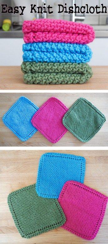 Washcloth Knitting Pattern Dishcloth Easy Knit Dishcloth ...