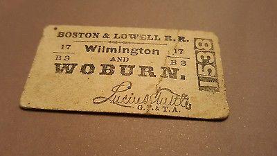 Boston & Lowell Wilmington & Woburn Railroad 1889 RR Ticket Stub Antique