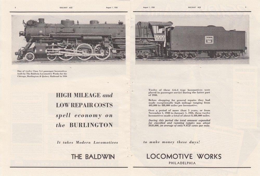 1936 Baldwin Ad: CB&Q Railroad #3000 4-6-4 S-4 Type Passenger Locomotive #vintage #ephemera #magazinead #vintagead #cbqrailroad #burlington