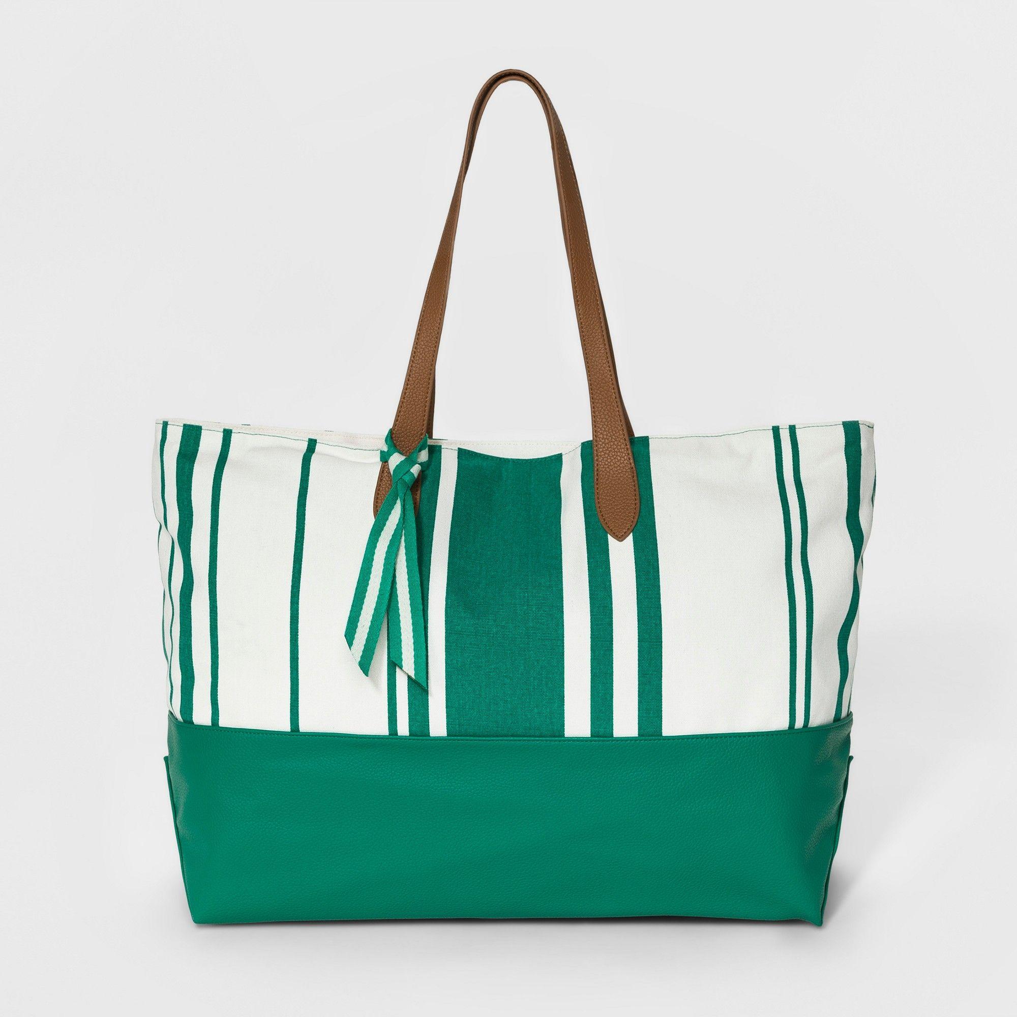 Canvas Striped Oversized Tote Handbag - A New Day Green 7db209727cc2b