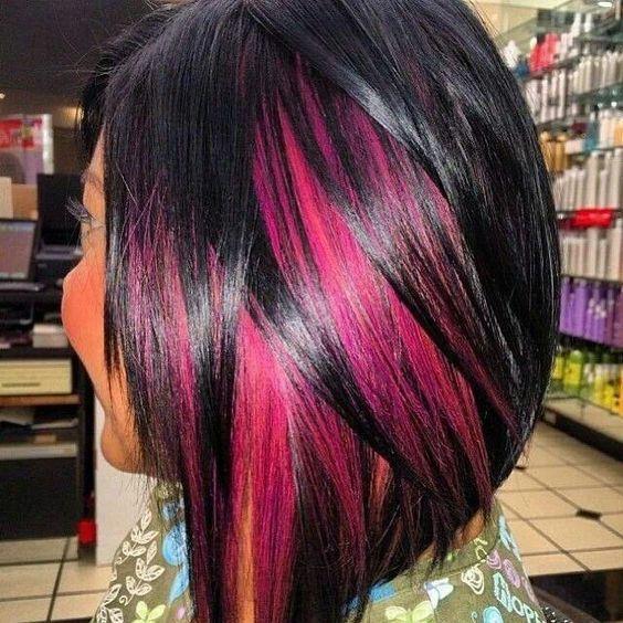 Black And Pink Peek A Boo Hidden Hair Hair Styles Hair Highlights Black Hair With Highlights