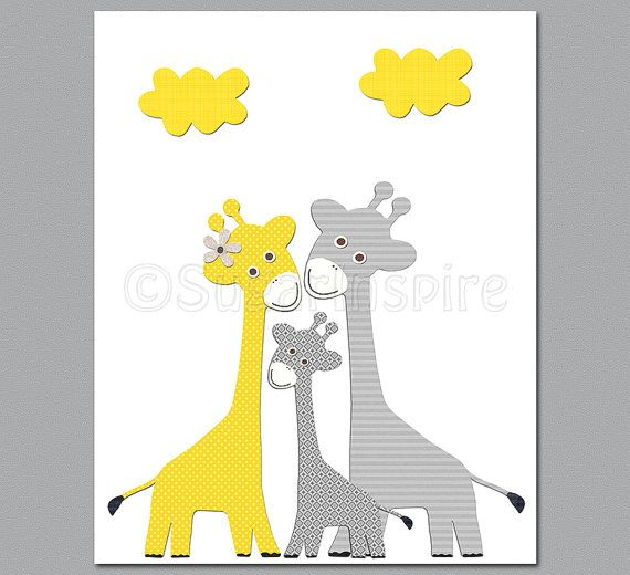Yellow And Grey Giraffe Nursery Wall Art By Sugarinspire