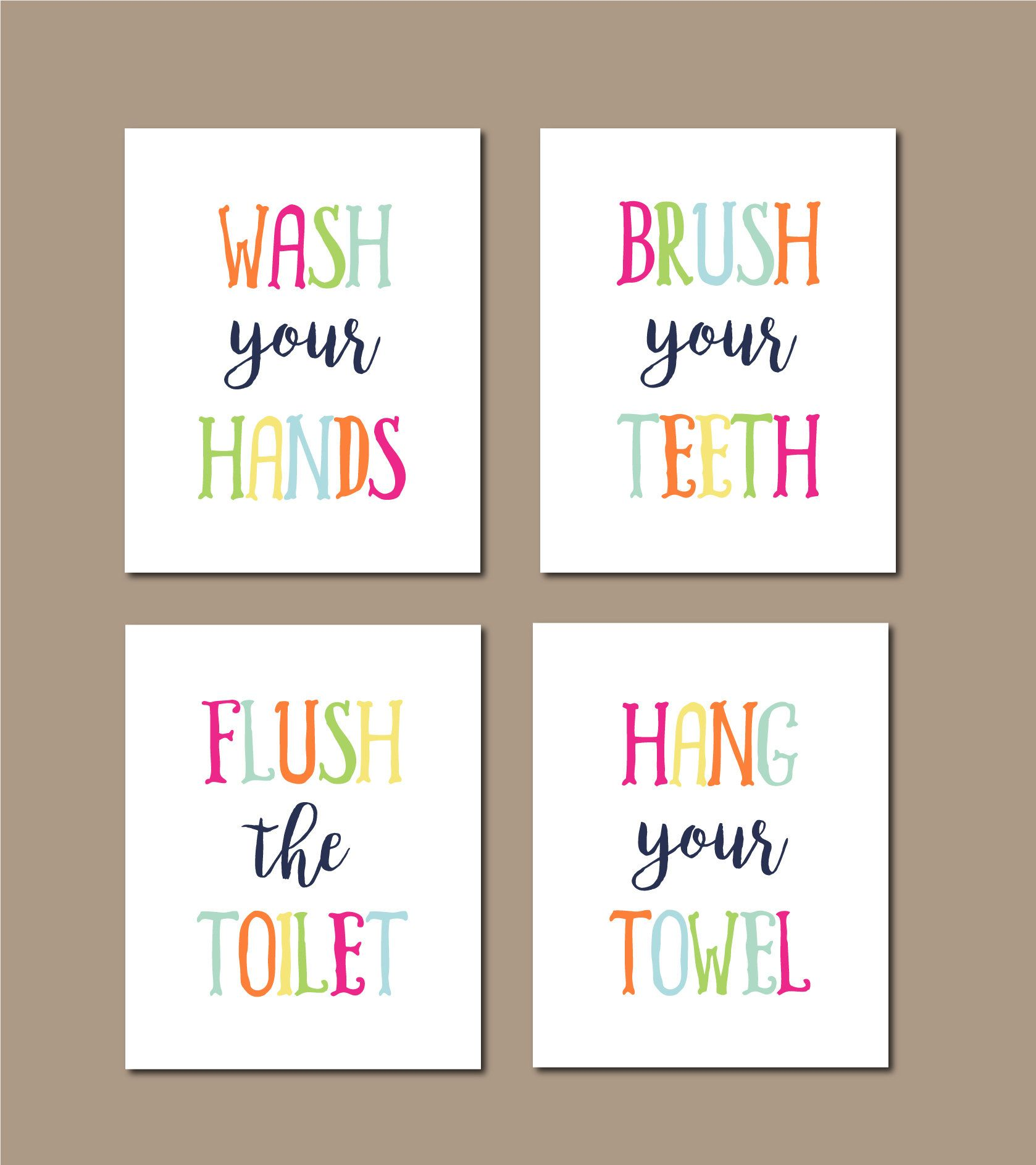 Kids Bathroom Rules Set Of 4 Childrens Bathroom Wall Art Rainbow Bathroom Colorful Bathroom Rules Kids Bathroom Art Wash Brush Flush Bathroom Rules Kids Kids Bathroom Art Rainbow Bathroom