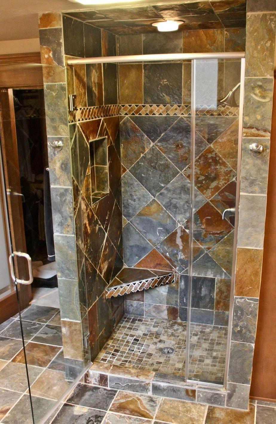 Slate Walk In Shower Kitchen Bathroom Remodel Bathrooms Remodel