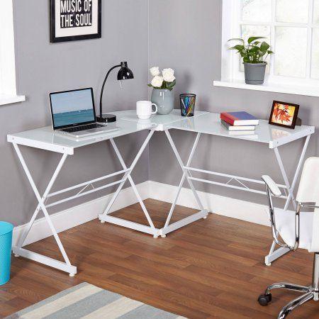 Metal And Gl L Shaped Computer Desk