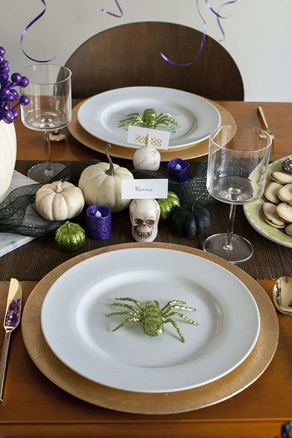Halloween Party Ideas A Purple, Green  Black Dining Room - decoration ideas for halloween party