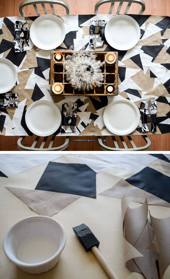 geometric paper tablecloth click for 30 diy christmas table centerpiece ideas diy christmas table decoration ideas - Diy Christmas Table Decorations