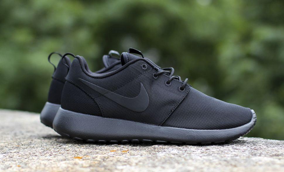 Tout Noir Nike Roshe Mens Vert
