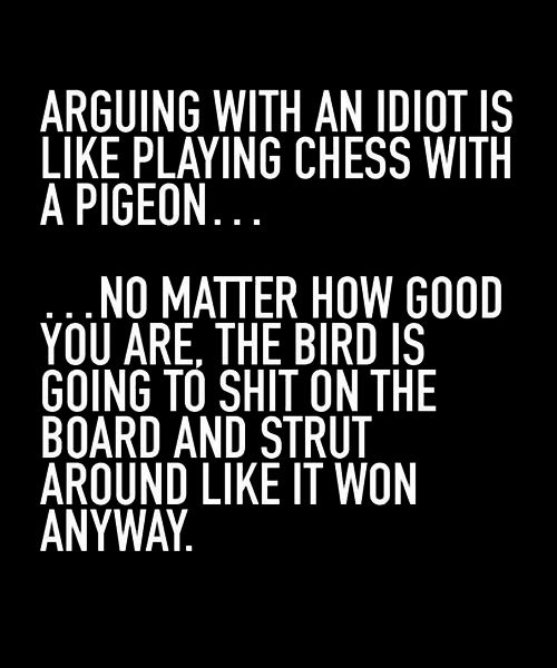 Arguing With An Idiot Is Like Playing Chess With A Pigeon Best