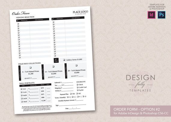 Order Form (Design 2) Template - Template for Adobe InDesign CC ...