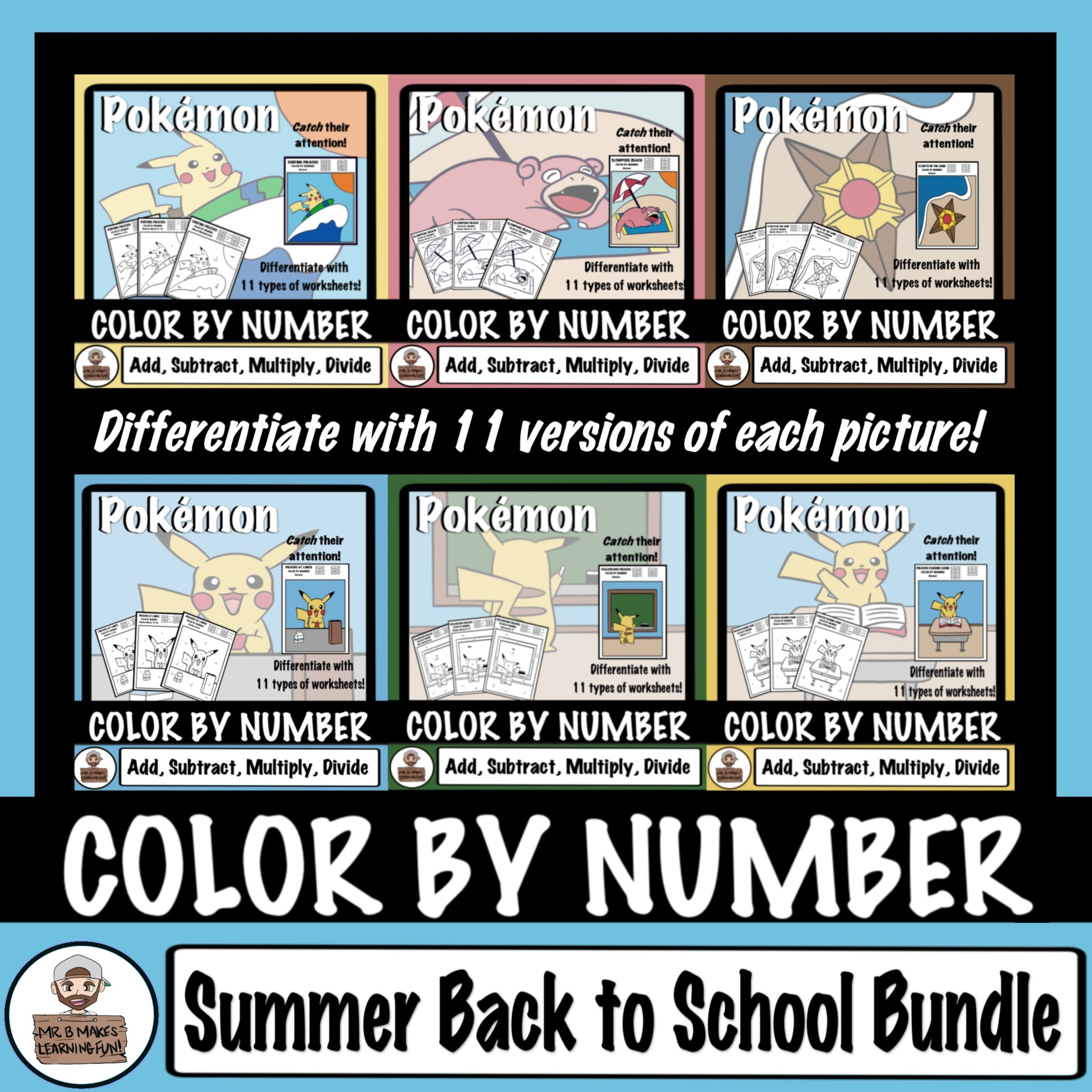 SUMMER BACK TO SCHOOL BUNDLE - Pokémon Color By Number | Pokémon ...