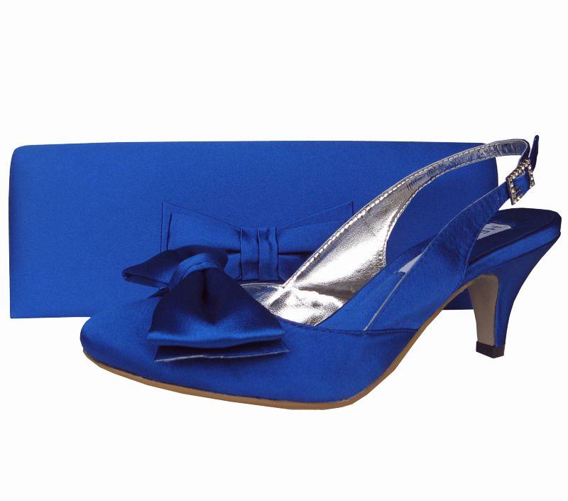 Twee Royal Blue Satin Ladies Shoes