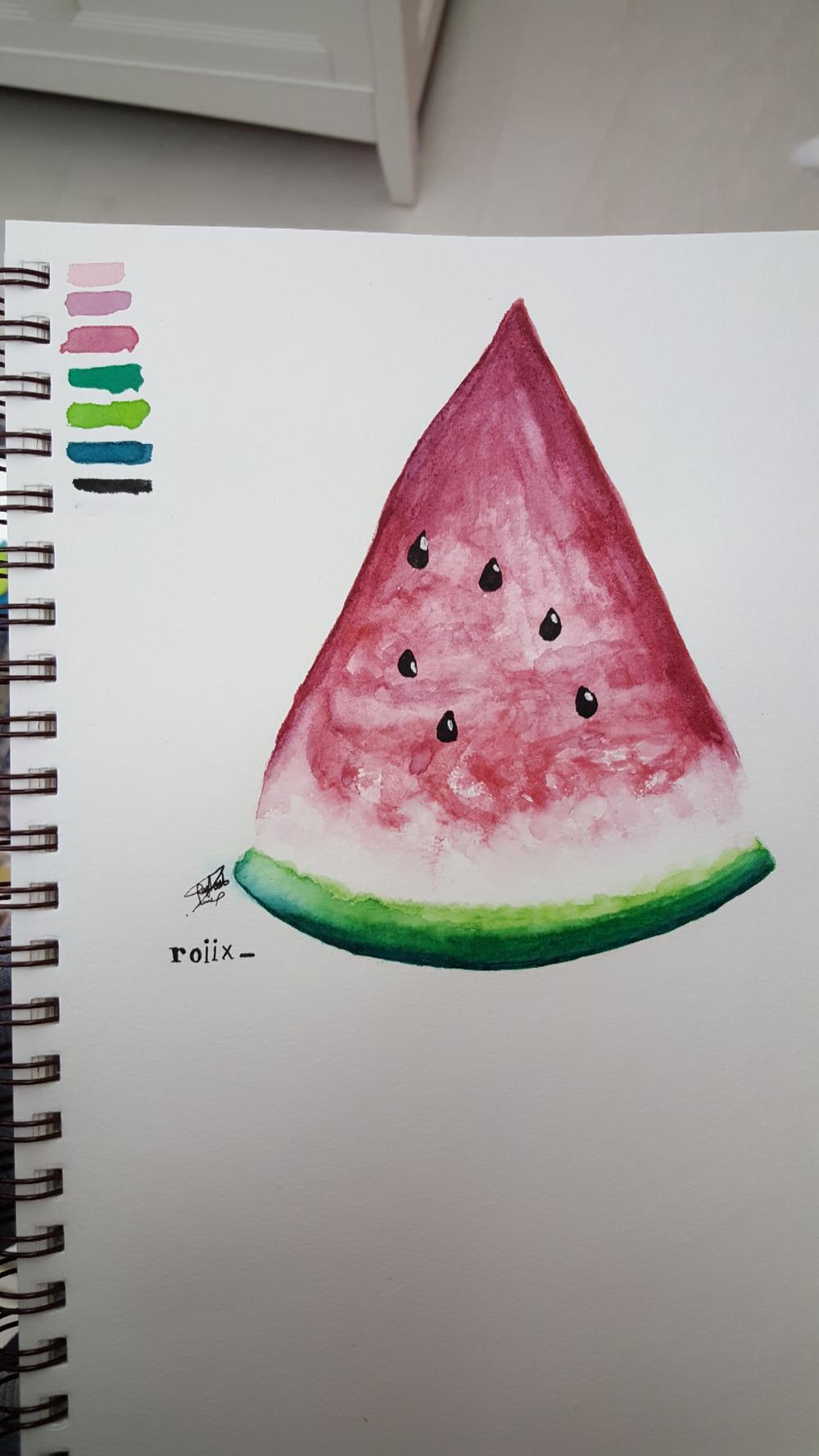دورة أساسيات الرسم والتلوين بالألوان المائيه Watermelon Fruit