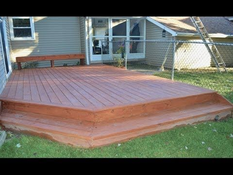 How to build a ground level deck youtube back porch for How to build a low deck