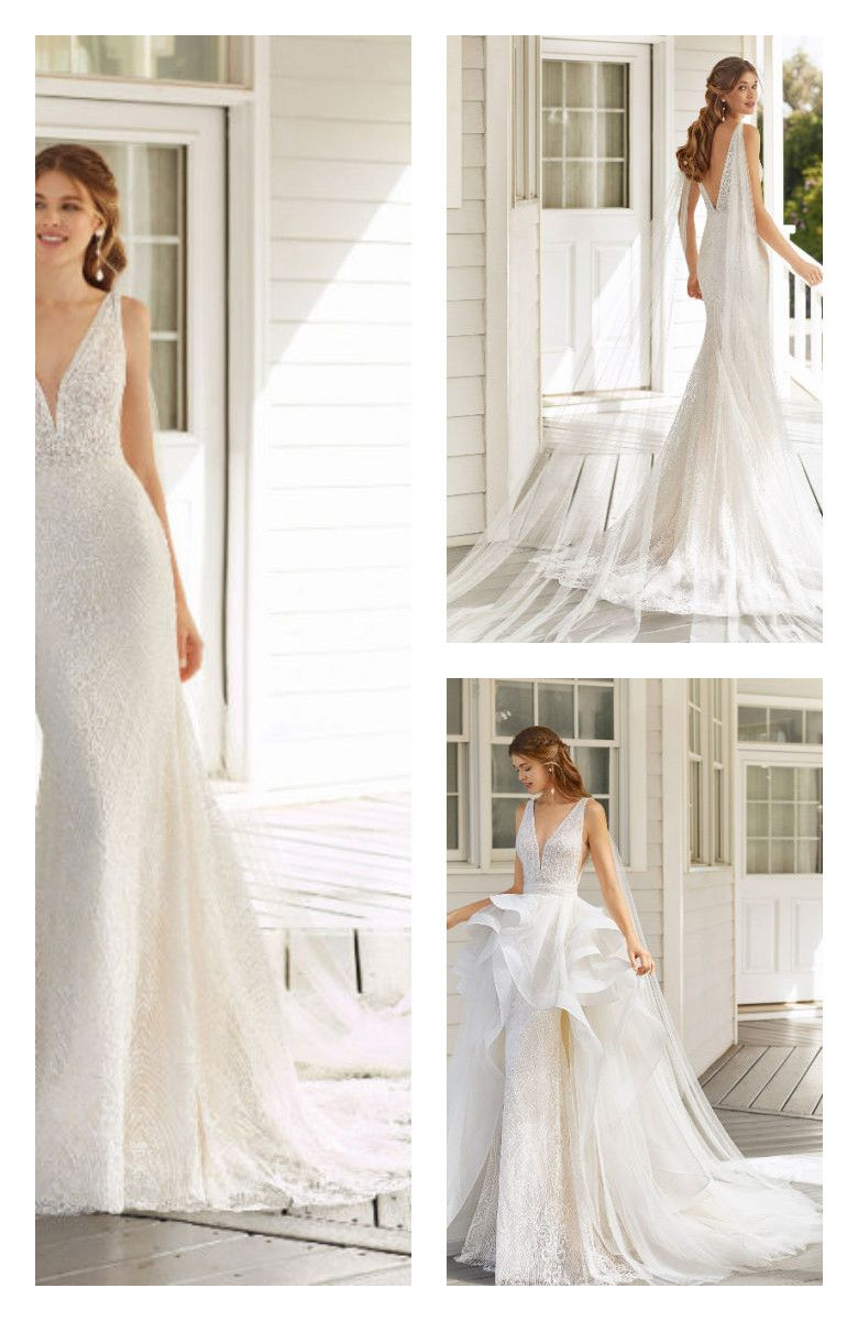 Mermaid Style Beaded With Geometric Lace Wedding Dress Deep