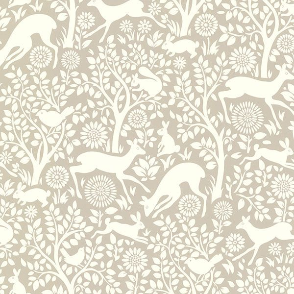 Chesapeake by Brewster HAS01232 Hide And Seek Anahi Light Grey Forest Fauna