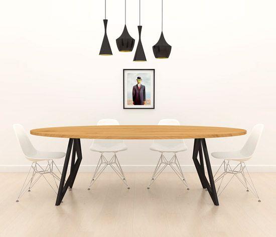 Massief eiken butterfly tafel ovaal zwart frame unieke for Design tafel ovaal