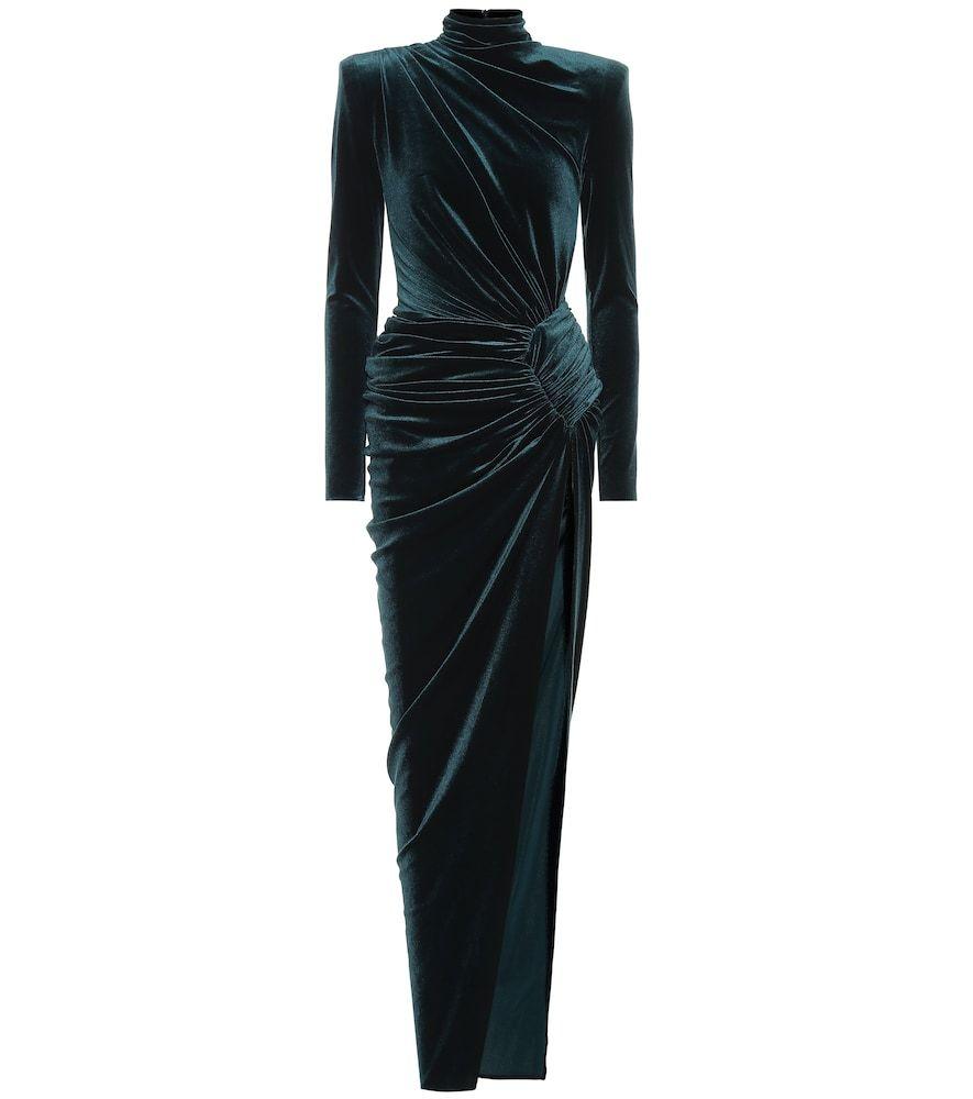Velvet maxi dress | Kleider, Smaragdgrüne kleider, Samt