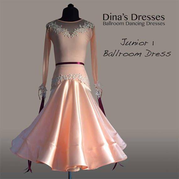 9f9da5edf Junior 1 Ballroom Dancing Dress - Special order for Katya SET MADE TO  ORDER, Chrisanne-Clover fabrics. Cgamoagne lycra leotard with stretch mesh  top and ...