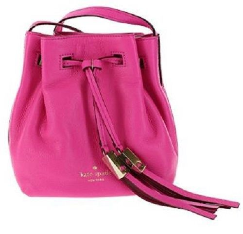 Kate Spade Grey Street Tiny Cooper Leather Bucket Shoulder Bag Crossbody Pink #katespade #ShoulderBag