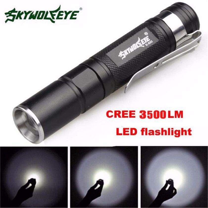 Super-Bright Aluminum LED Clip Mini Torch Flashlight Outdoor 3-Modes Penlight