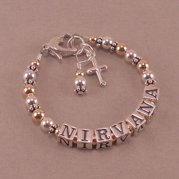 Baby Baptism Bracelet Gold And Silver Name Personalized Jewelry Cross Charm Christening Niece First Communion Grace