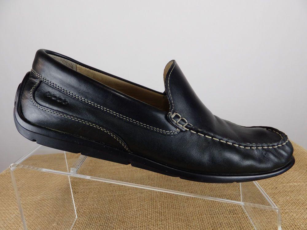 de3eb097f306 ECCO Classic Driving Moc Loafer Men Black Leather Slip Shoe Men 9 9.5 EU 43  EW  ECCO  LoafersSlipOns