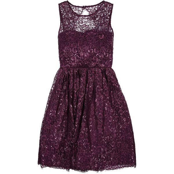 Alice + Olivia Metallic lace dress found on Polyvore