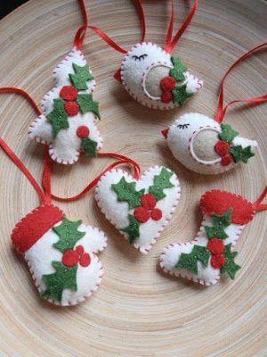 ideas para elaborar adornos navideos con fieltro