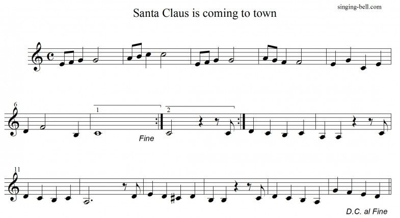 Santa Claus is Coming to Town | Free Xmas Music Scores/Sheets