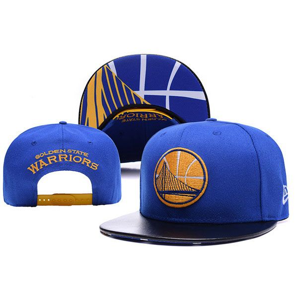 New Era NBA Golden State Warriors Leather Blue Snapback Cap  0d966b4a108