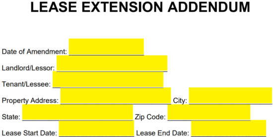 Free Lease Extension Addendum Template Pdf Word Eforms Free Fillable Forms Lease Being A Landlord Extensions